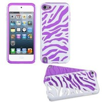 White Zebra Purple Fusion Dual Layer Apple iPod Touch iTouch 5 5th Generation Soft Rubber Hard Protector Cover Skin Case