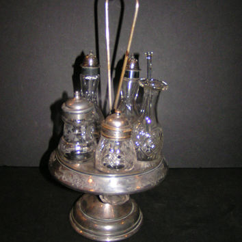Simpson Hall Miller Antique Cut and Etched Glass 5 Piece Cruet Set with Carrier