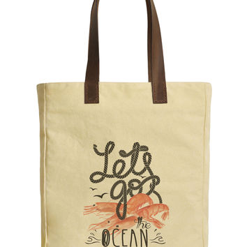 Shrimp and Quote Beige Printed Canvas Tote Bags Leather Handles WAS_30