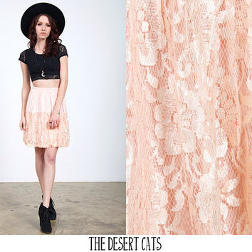 vintage 80s skirt vintage 1980s peach colored lace skirt with elastic waistband vintage kawaii punk lace mini skirt