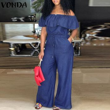 Plus-Size Denim Rompers Slash Neck Off Shoulder Ruffles Wide Leg Pants Overalls