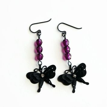 Black Butterfly Dangle Earrings With Purple Accent Beads