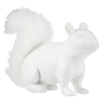 Threshold™ Squirrel Figural with Faux Fur Tail - White Shimmer