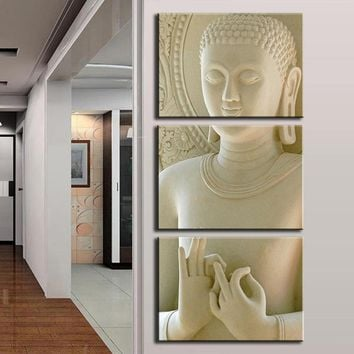 Home Decor Canvas Pictures Wall Art HD Prints Fashion Buddha Poster 3 Pieces White Marble Buddha Statues Art Paintings Framework