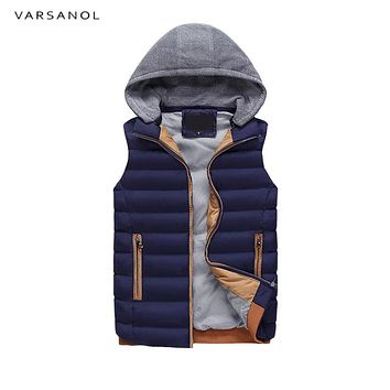 Men Jacket Hooded Winter Clothes Vests For Men Cotton Outwear Sleeveless Turn-down Collar Casual Tops