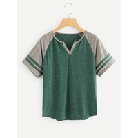 Raglan Sleeve Varsity-Striped Tee