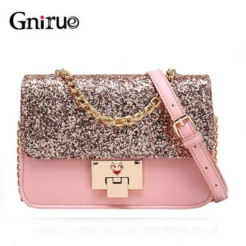 Pu Leather Sequins Bag Shiny Glitter Fashion Chain Women Shoulder Crossbody Bags Flap Pink Bling Handbag Purses Black