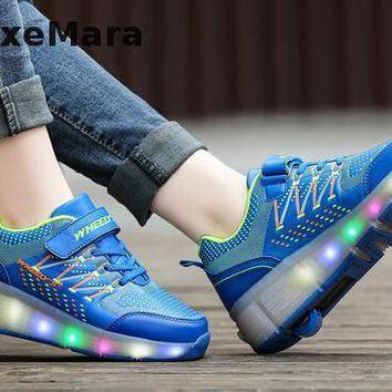 New Wheely's Girls Roller Shoes Men Automatic LED Light Electric Flashing Roller Skat