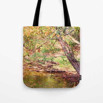 Autumn At Hickory Ridge Pond Tote Bag by Theresa Campbell D'August Art