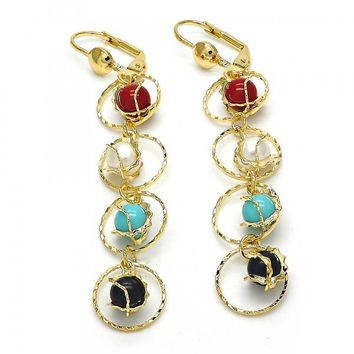 Gold Layered 02.211.0013.4 Long Earring, with Multicolor Pearl, Polished Finish, Golden Tone
