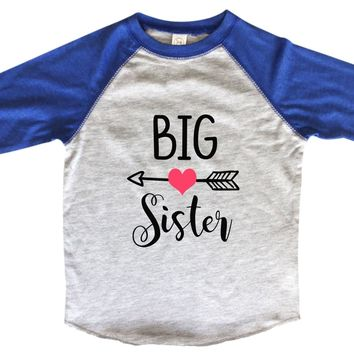 Big Sister BOYS OR GIRLS BASEBALL 3/4 SLEEVE RAGLAN - VERY SOFT TRENDY SHIRT B970