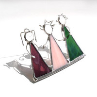 Three sisters, best friends, stained glass suncatcher, triplets ornament