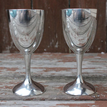 Vintage Pair of Two (2) International Silver Co. Sterling Engraved Wine Glasses | Dick & Nancy | DIY Wedding Decor and Anniversary Gifts