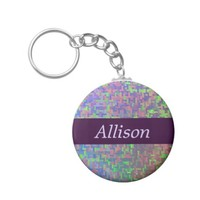 Colorful Abstract With Your Name Basic Round Button Keychain