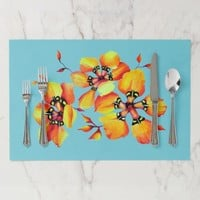 Bright Watercolor Orange Flowers - Turquoise Placemat