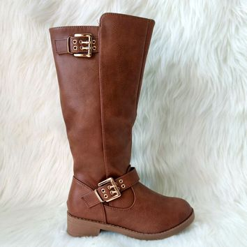 Girl's Tan Tall Boot with Buckle Details