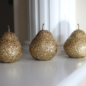 Golden Pears Fruit Gold Pear Decor Kitchen