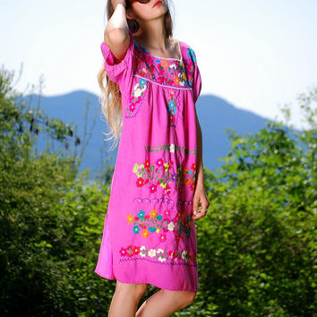 Pink Mexican Embroidered Dress 60s 70s Hippie Dress Cotton Tunic Dress Ethnic Oaxacan Boho Dress Summer Bohemian Festival Caftan Dress