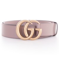 GUCCI 450$ Authentic Dusty Pink Leather Belt With Interlocking Double G Buckle