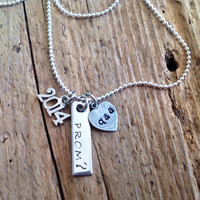 Custom Prom Invitation Necklace. Ask Her Him to the Prom. Hand Stamped. 2014 Charm. High School . Custom initials.