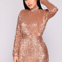 Lethal Kiss Sequin Dress - Rose Gold