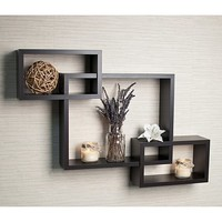 Intersecting Espresso Wall Mount Shelf at HSN.com