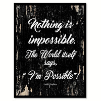 Nothing Is Impossible Audrey Hepburn Motivation Quote Saying Gifts Ideas Home Decor Wall Art