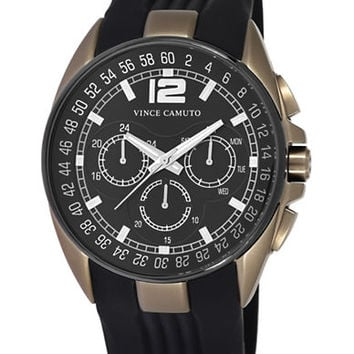 Vince Camuto Mens Gold Tone and Black Round Watch with Silicone Strap