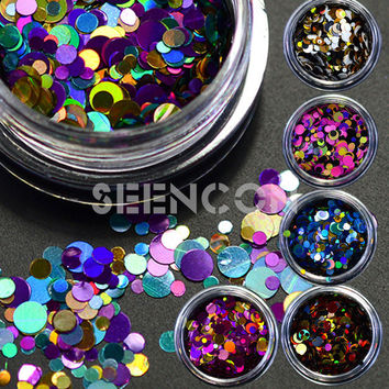 12 boxes/set Hot fancy color Mixed Mini Round Thin Nail Art Glitter Paillette Nail sequins Gel Polish Decoration Manicure Tools
