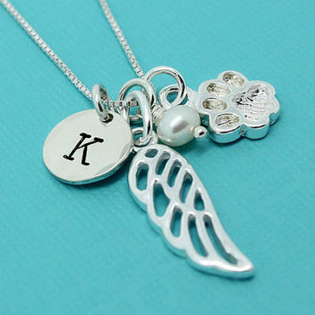 Cat loss necklace, cat memorial jewelry gift, 925 Sterling silver initial angel wing pearl cat paw charm necklace, pet memorial jewelry
