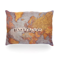 "Sylvia Cook ""Wanderlust Map"" World Oblong Pillow"
