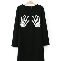 Black Hand Bones Print Long Sleeve Shift Mini Dress