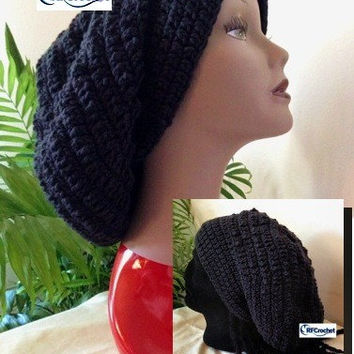 Extra Large Black Slouchy Beanie |  Adult Crochet Beanie | Men or Women | Dreadlocks | Long Hair | Braids | Locs | Crochet Hat