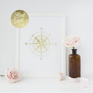 Nautical Compass Gold Foil Print, Compass Poster, Maritime Print, Real Gold Foil, Compass Wall Decor, Nautical Decor, Gold Decor, 8x10 print