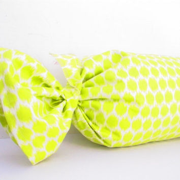 Green Bolster Pillow, Green Ikat Pillow, Long Ikat Pillow, Designer Pillows, Lime Green Pillow, Ikat Cushion, Bolster Cushion, 21x30 Inch