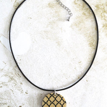 makeforgood, Large Wood Pendant Necklace, Modern Geometric Pendant, Round Gold Pendant, Wooden Necklace, Wood Jewellery