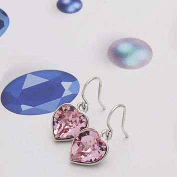 Rhodium Layered Women Heart Dangle Earring, with Rose Peach Swarovski Crystals, by Folks Jewelry