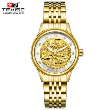 TEVISE Women Luxury Gold Phoenix Automatic Mechanical Watches Vintage Skeleton Self Wind Lady Wristwatches Montre Femme 9006