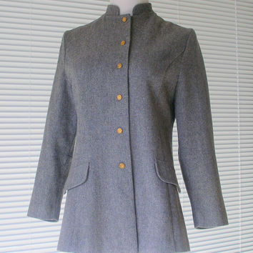 Womens Grey Wool Blazer RUSS Vintage Long Fitted Blazer Military Style Taylored Jacket