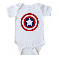 Captain America shield One piece bodysuite Onesuits baby size newborn to 24 months