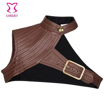 S-6XL Plus Size Brown Leather Corset Jacket Coat Women Steampunk Costume Sexy Corsets And Bustiers Gothic Clothing Accessories