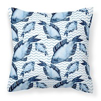 Beach Watercolor Fishes Fabric Decorative Pillow BB7532PW1414