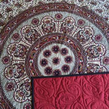 "Dark burgundy and black mandala tapestry quilt/ Handmade India tapestry quilt/ boho chic bohemian gypsy QUEEN blanket size 76 1/4"" x 81 1/2"""