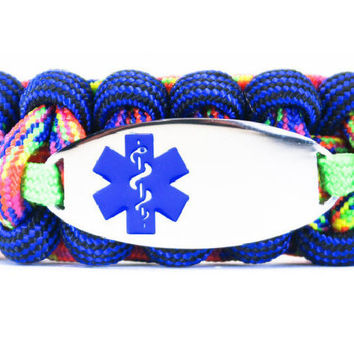 550 Paracord Bracelet with Engraved Oval Stainless Steel Medical Alert ID Tag - Blue