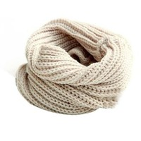 Juanshi Women Warm Infinity One Circle Knit Wool Blend Cowl Loop Scarf Shawl Color Beige