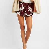 Floral Ruffle-Trim Shorts | Charlotte Russe