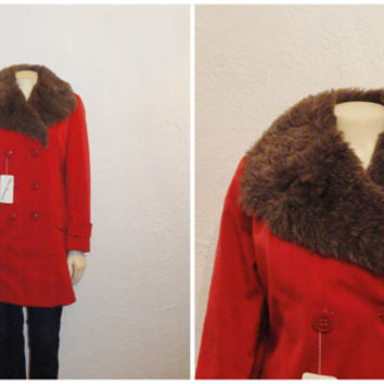 Vintage Coat Double Breasted Pea  70s Miss Harwood Faux Fur Burnt Orange Deadstock NWT Sz 8 Modern Small to Medium