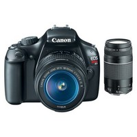 Canon EOS Rebel T3 12MP DSLR Camera with 75-300mm and 18-55mm Lenses - Black