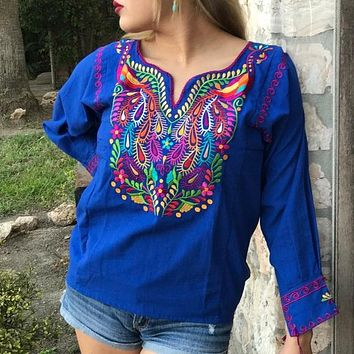 Amazing Mexican Embroidered Peacock Blouse Royal Blue