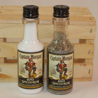 Captain Morgan Spiced Rum Salt & Pepper Shaker, Upcycled Liquor Bottles